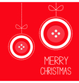 Two hanging red button merry christmas ball vector