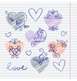 Hand-drawn love doodles in sketchbook vector
