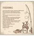 Vintage image of fishing rod and fishes drawing vector
