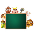A blackboard surrounded with animals vector