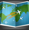 Airplanes flying over the world map vector