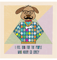 Cool dog hipster hand draw vector