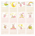 Baby bunny calendar 2015 - week starts with sunday vector