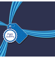 Blue birthday ribbon vector