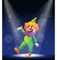 A clown at the center of the stage with a vector