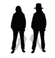 People couple silhouette vector