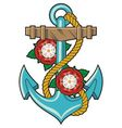 Anchor and roses tattoo vector