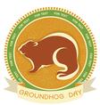 Groundhog day label vector