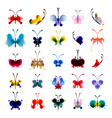 Set of butterflies from watercolor blots vector