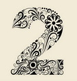 Number 2 floral decorative ornament vector