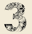 Number 3 floral decorative ornament vector