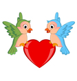 Cute bird with love cartoon vector