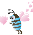 Valentines day bee and hearts vector