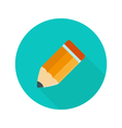 Big orange pencil circle icon over green vector