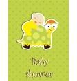 Baby shower card - baby sleep on a turtle vector