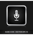 Microphone icon silver metal vector