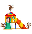 Monkeys playing at the playground vector