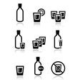 Vodka strong alcohol icons set vector