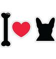 I love french bulldog with black shape dog vector