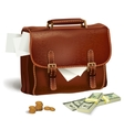 Leather briefcase with documents and money vector