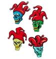 Cartoon clown and joker skulls vector