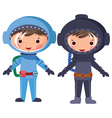 Cartoon astronaut and diver vector