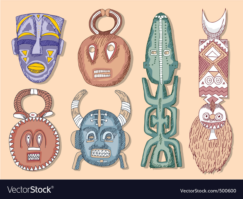 African masks vector | Price: 3 Credit (USD $3)