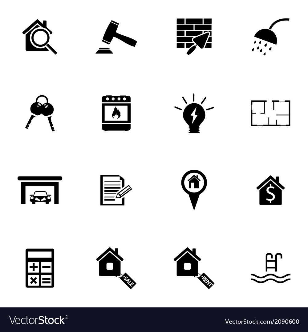 Black real estate icons set vector | Price: 1 Credit (USD $1)