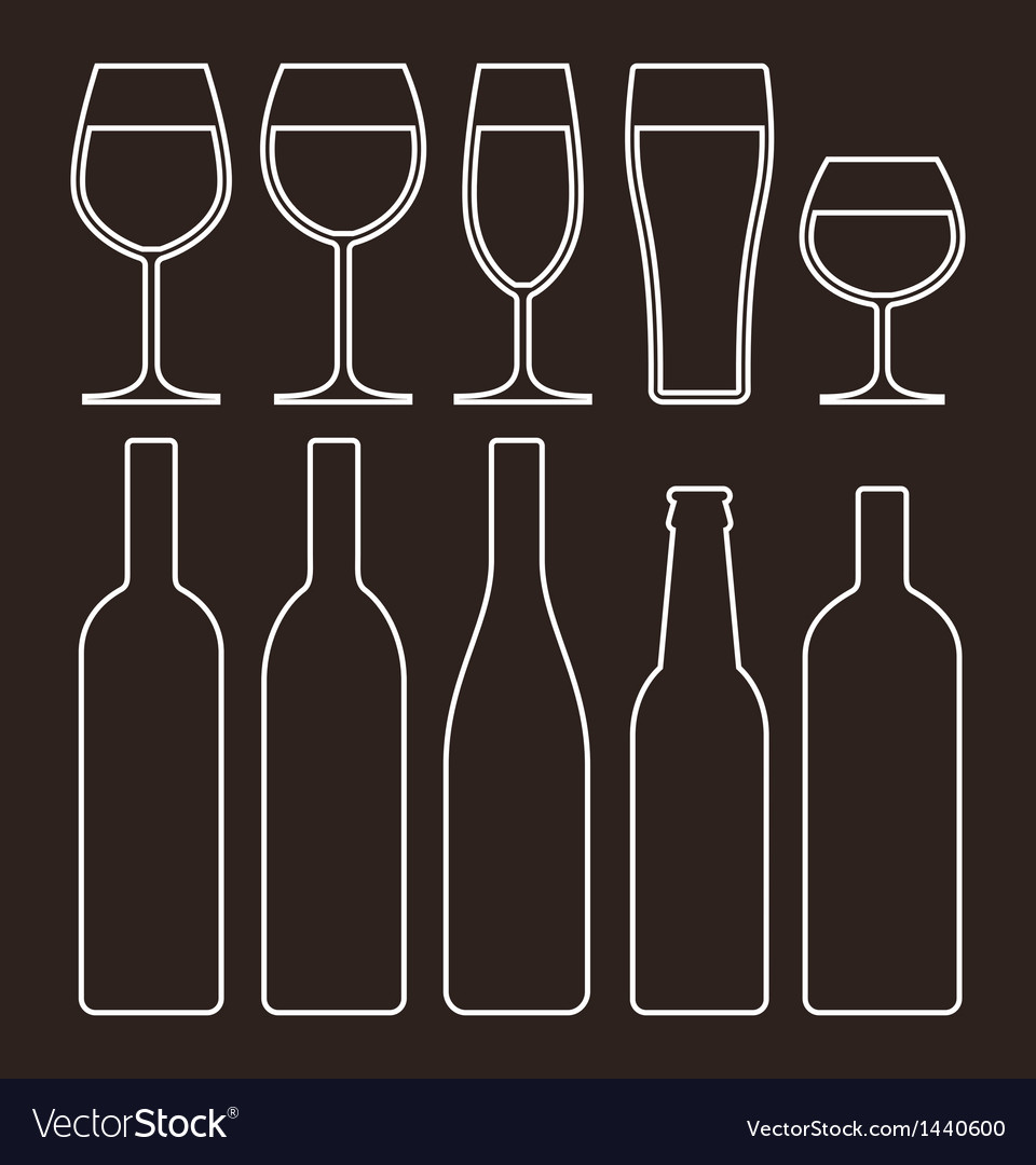 Bottles and glasses set vector | Price: 1 Credit (USD $1)
