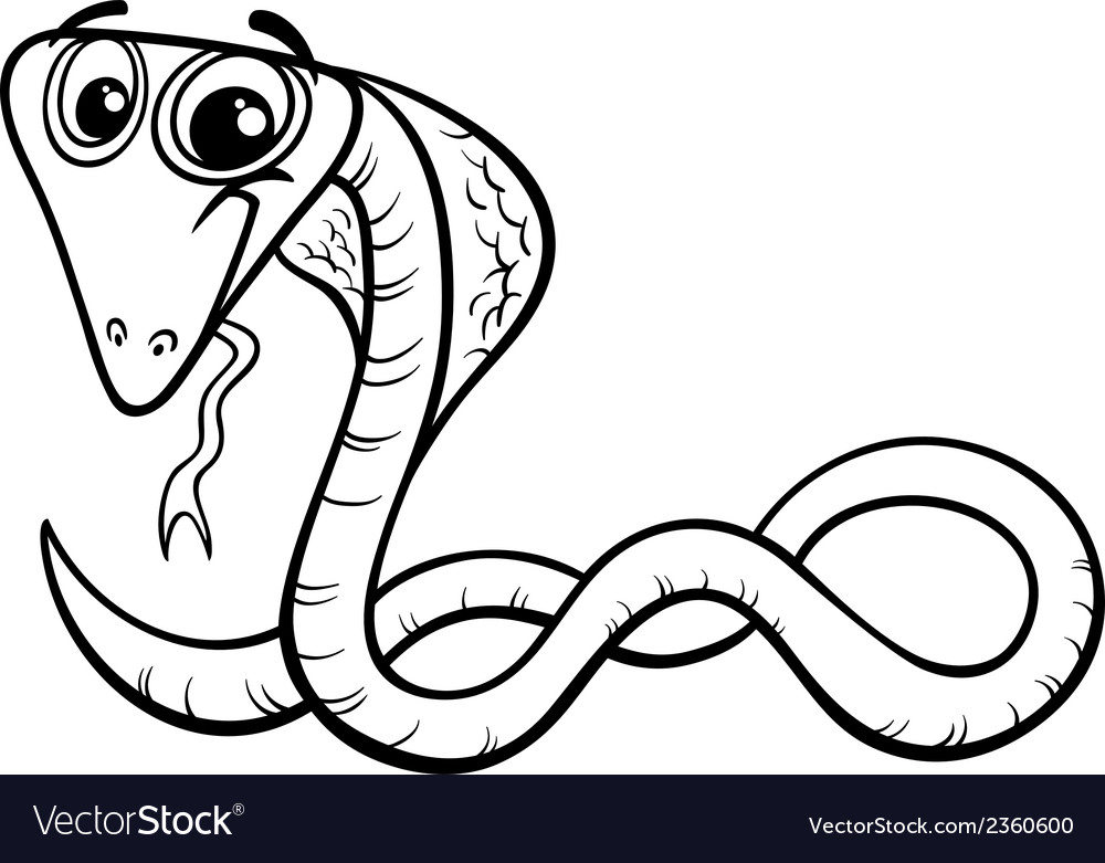 Cobra cartoon coloring page vector | Price: 1 Credit (USD $1)