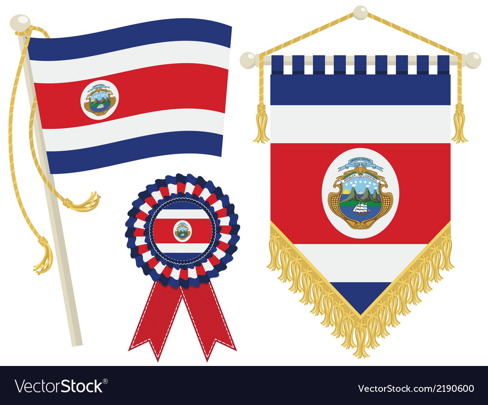Costa rica flags vector | Price: 1 Credit (USD $1)