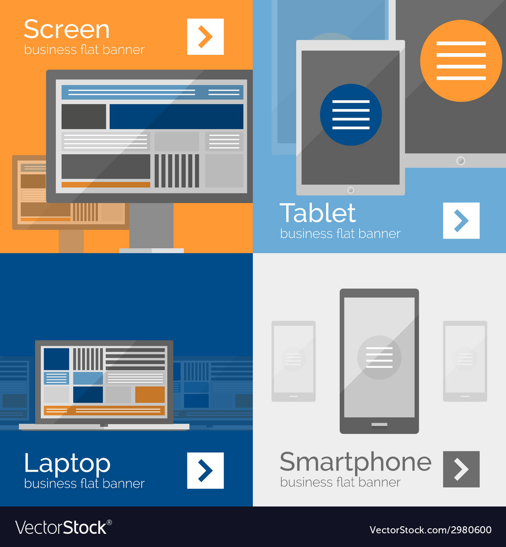 Electronic devices flat design banners vector | Price: 1 Credit (USD $1)