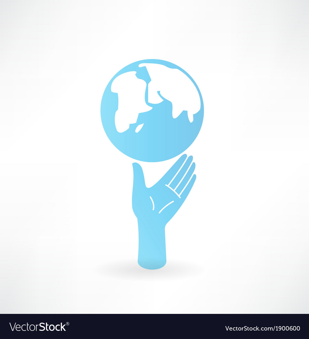 Hand and globe icon vector | Price: 1 Credit (USD $1)