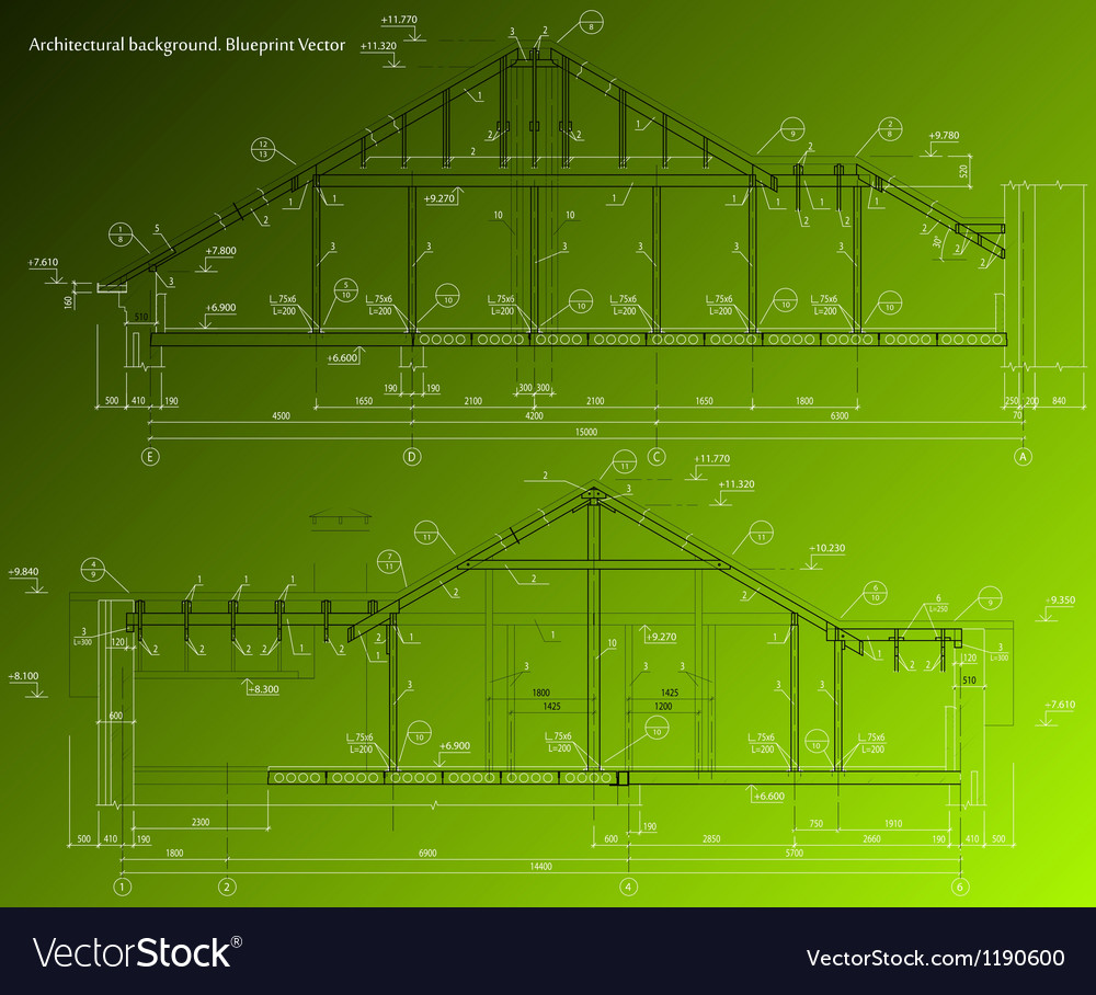 House facade on green background blueprint vector | Price: 1 Credit (USD $1)