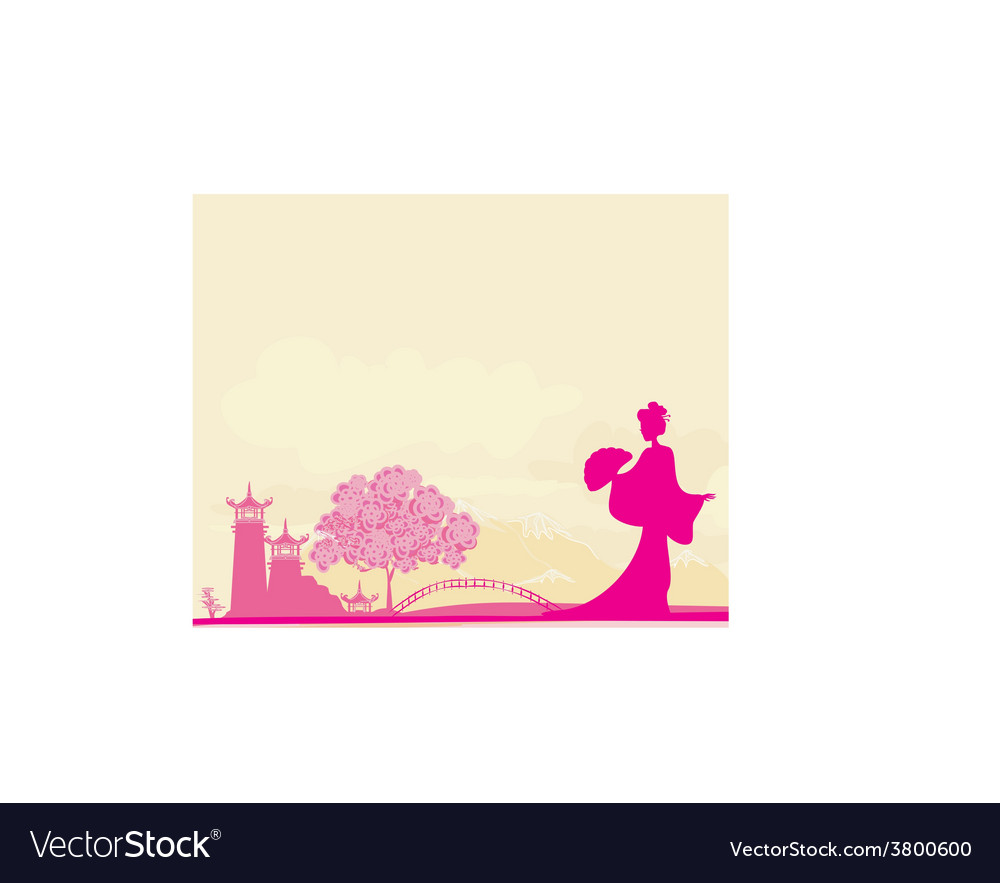 Old paper with geisha and asian landscape vector | Price: 1 Credit (USD $1)