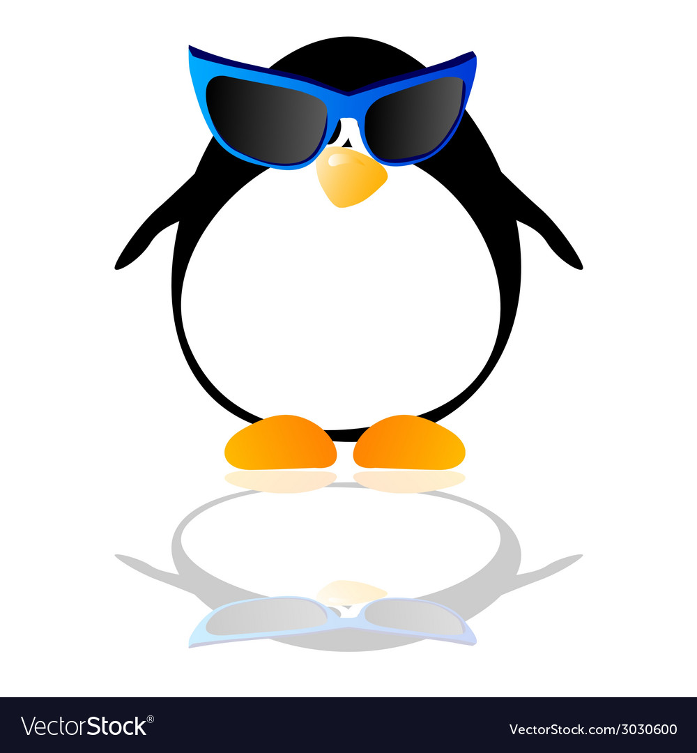 Penguin with blue glasses vector | Price: 1 Credit (USD $1)