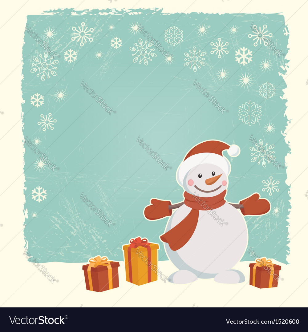 Retro christmas card with snowman vector | Price: 1 Credit (USD $1)