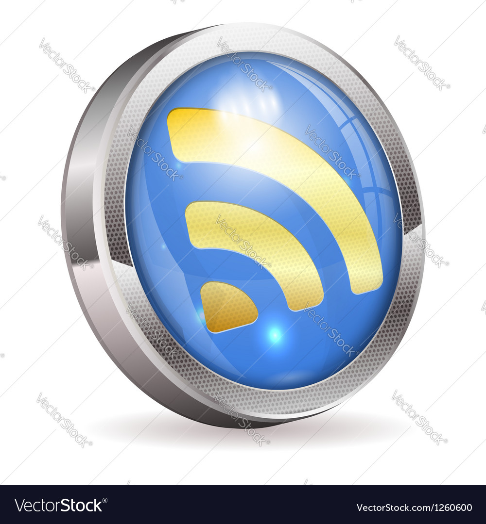 Rss feed news button vector | Price: 3 Credit (USD $3)