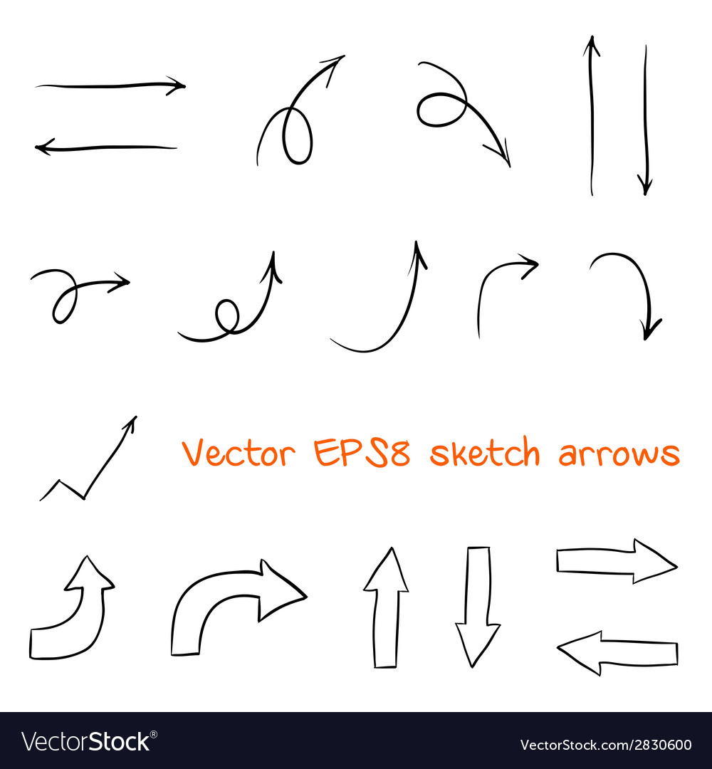 Set of sketched arrows vector | Price: 1 Credit (USD $1)