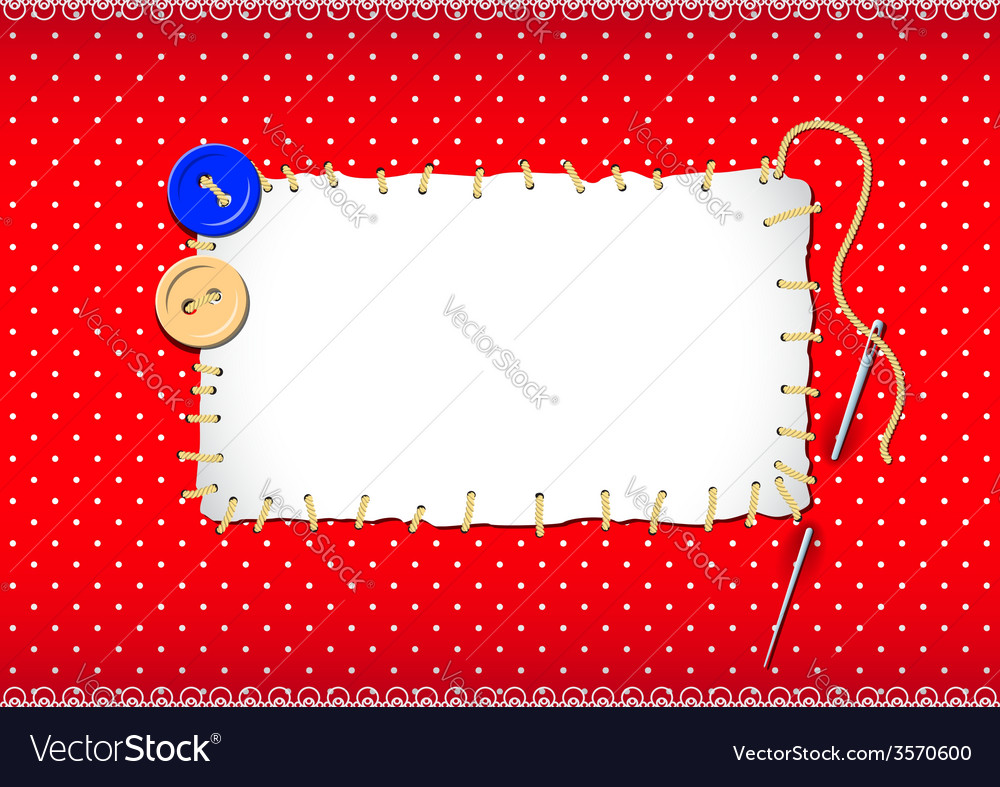 Stitched patch with buttons and needle vector | Price: 1 Credit (USD $1)