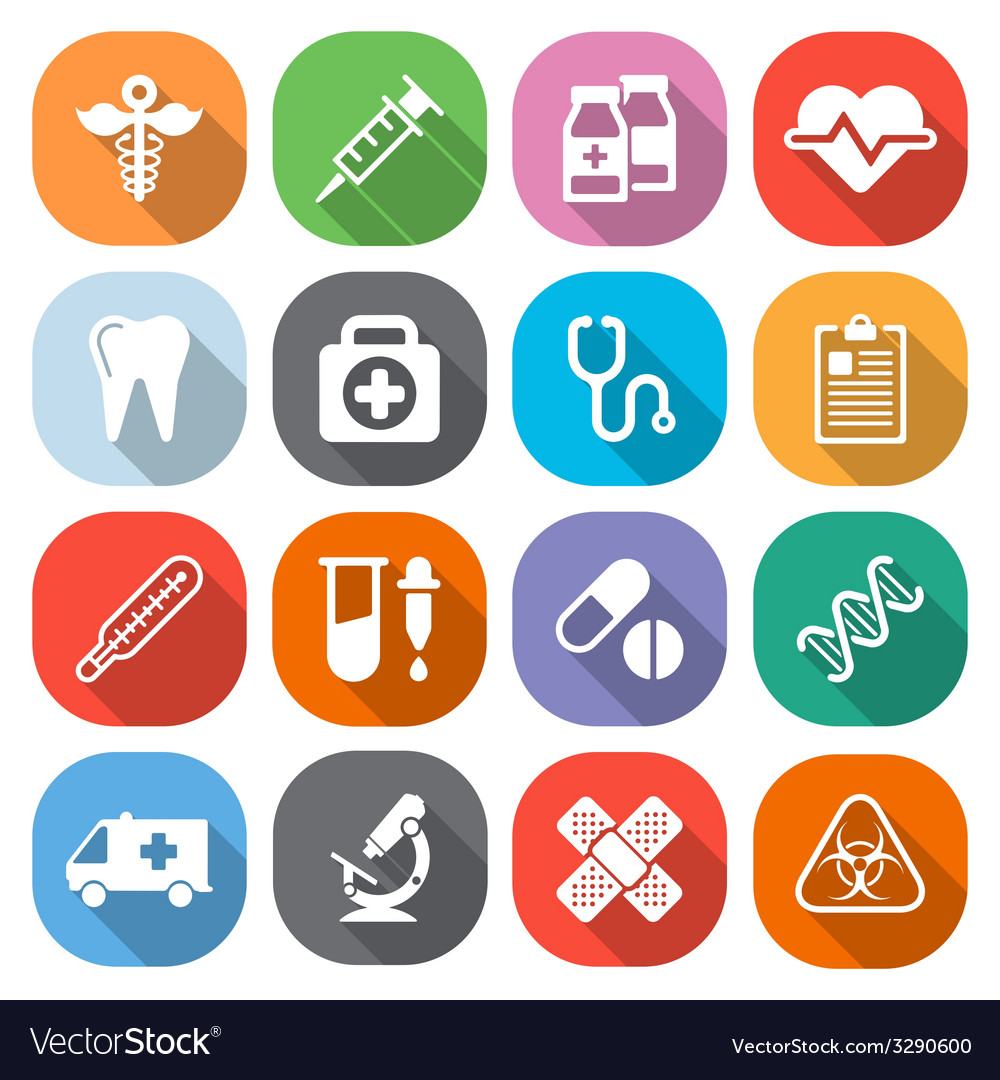 Trendy flat medical icons with shadow vector | Price: 1 Credit (USD $1)