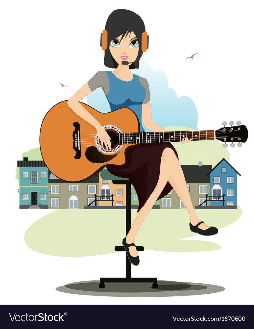 Woman playing guitar vector | Price: 1 Credit (USD $1)