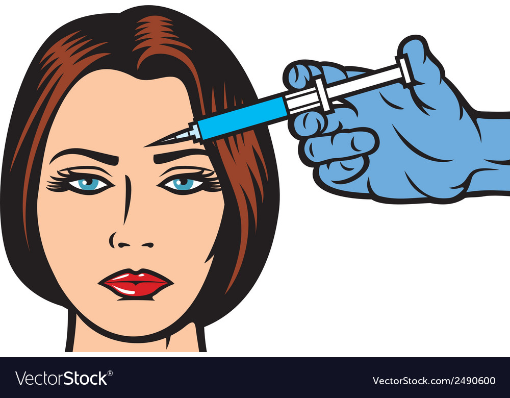 Woman receiving a botox injection in forehead vector | Price: 1 Credit (USD $1)