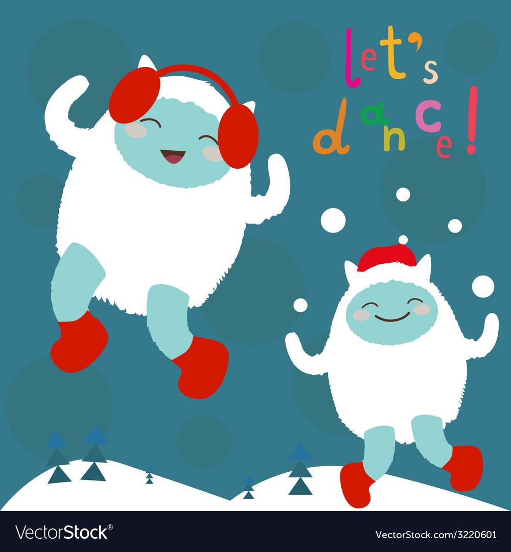 Cute dancing yeti characters vector | Price: 1 Credit (USD $1)