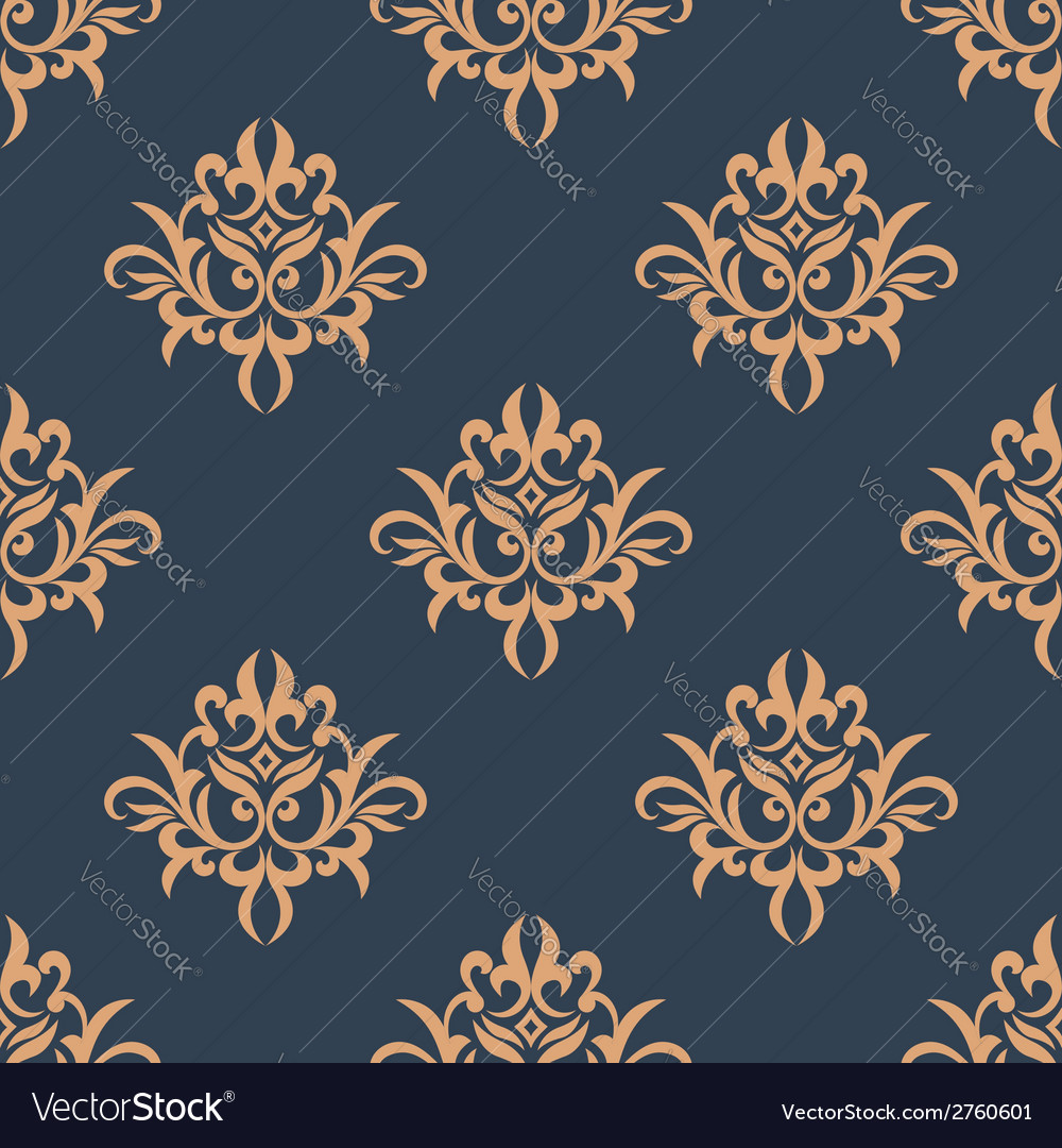 Floral retro seamless pattern vector | Price: 1 Credit (USD $1)