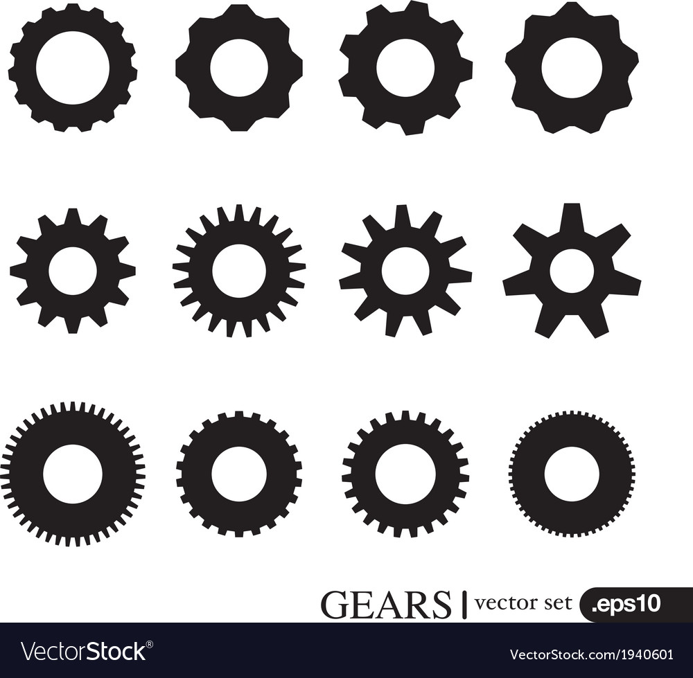 Gear icons design elements gears silhouettes set vector | Price: 1 Credit (USD $1)