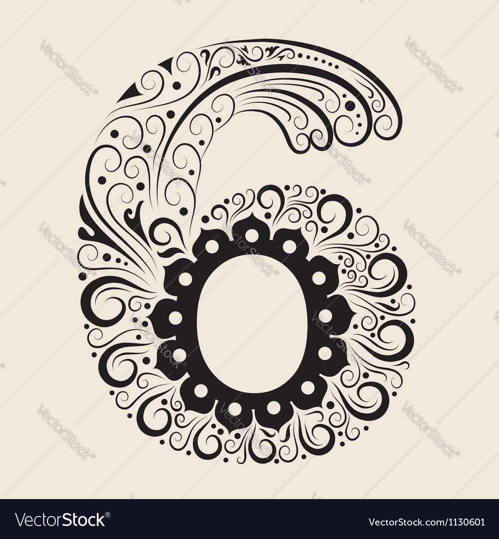 Number 6 floral decorative ornament vector