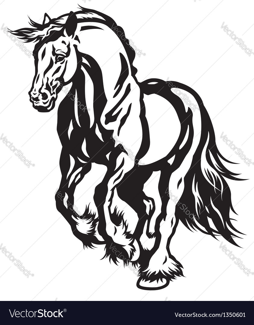 Running draft horse black white vector | Price: 1 Credit (USD $1)
