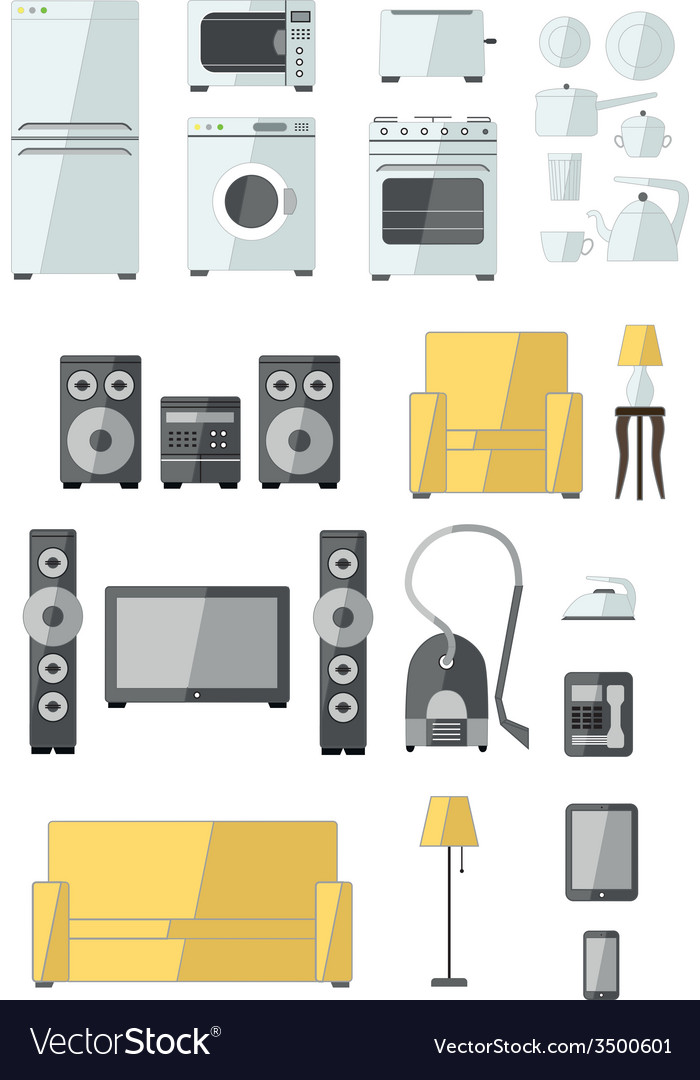 Set of household appliances flat colourful icons vector | Price: 1 Credit (USD $1)