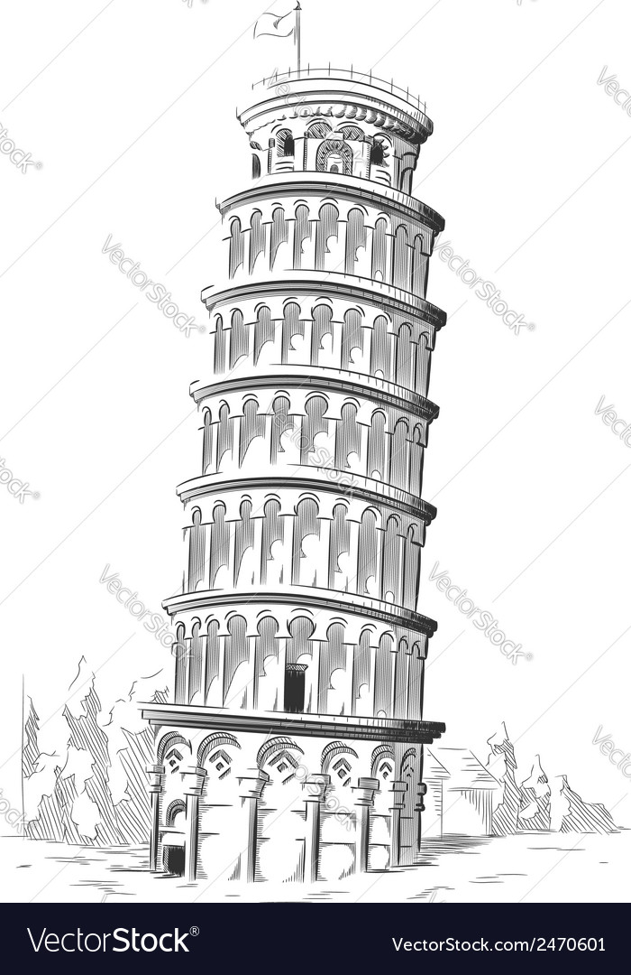 Sketch of italy landmark leaning tower of pisa vector | Price: 1 Credit (USD $1)